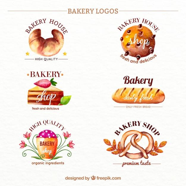 Bakery Corporate Identity Logo Template: Hand Drawn Watercolor Bakery Logotypes Vector