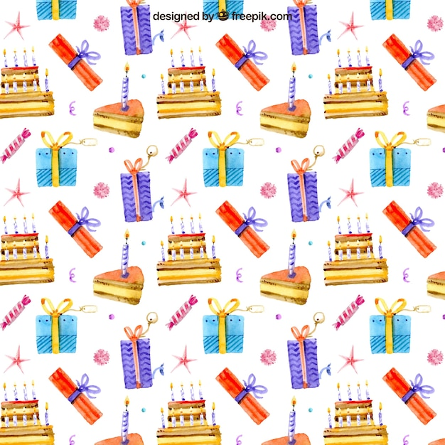 Hand Drawn Watercolor Birthday Cake And Gifts Pattern Vector Free