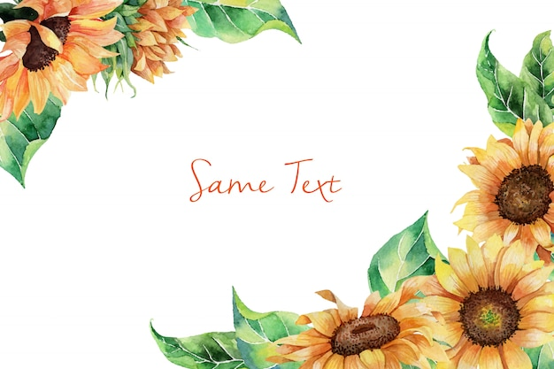 Hand drawn watercolor border template with sunflowers Premium Vector