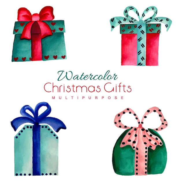 hand drawn watercolor christmas gifts vector free download