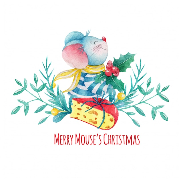 Hand drawn watercolor christmas mouse with decorations and cheese Premium Vector