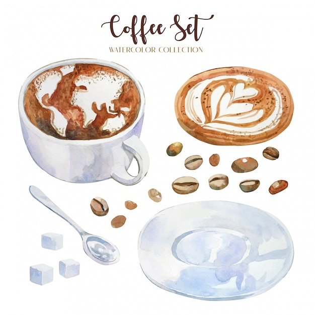 Hand drawn watercolor coffee cup with latte art, world map and heart shape Premium Vector