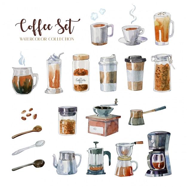 Hand drawn watercolor coffee equipment set Premium Vector