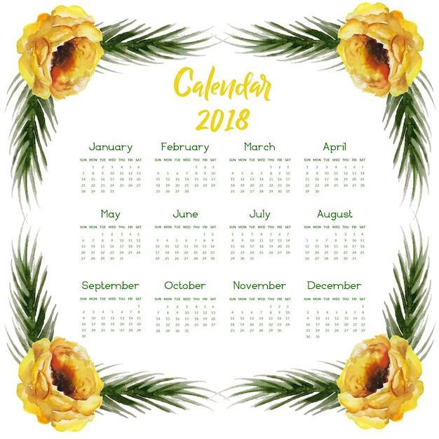 Hand Drawn Watercolor Floral Annual Calendar 2018
