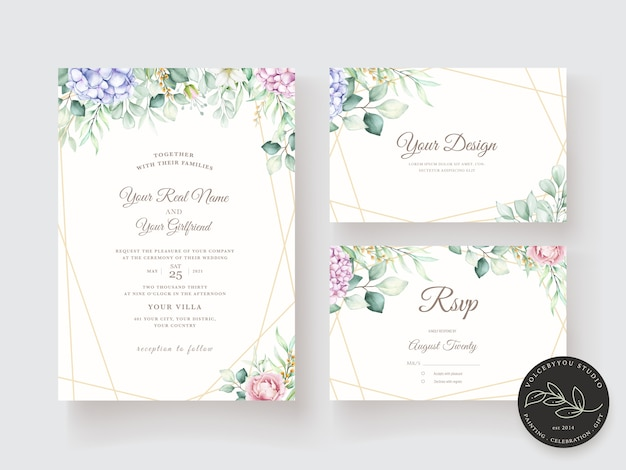 Hand drawn watercolor floral invitation card template Free Vector