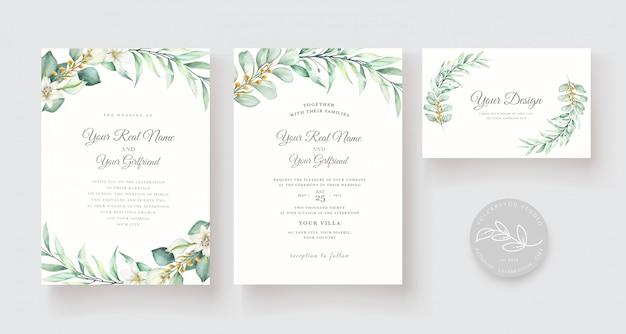 Modello di carta di invito floreale acquerello disegnato a mano Vettore gratuito