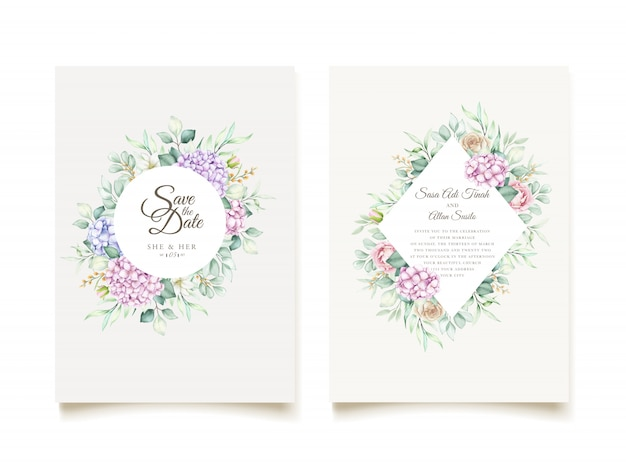 Hand drawn watercolor floral invitation card Free Vector