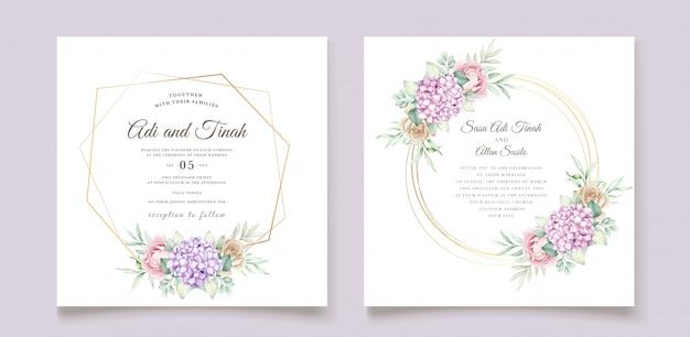 Hand drawn watercolor floral invitation card Free Vector