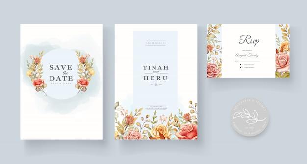 Partecipazione di nozze floreale dell'acquerello disegnato a mano Vettore gratuito