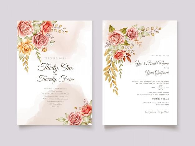 Рисованной акварель цветочные свадебные карточки Бесплатные векторы