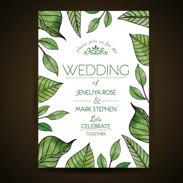 Hand drawn watercolor green leaves wedding invitation card vector hand drawn watercolor green leaves wedding invitation card free vector stopboris Image collections