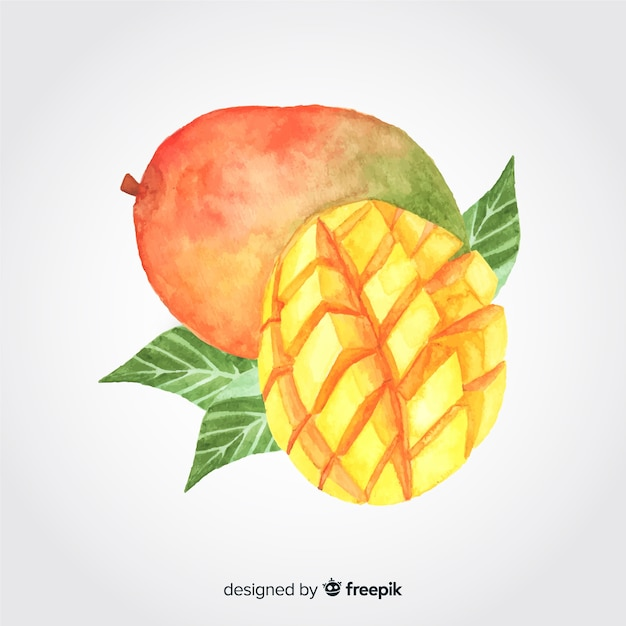 Hand drawn watercolor mango background Free Vector