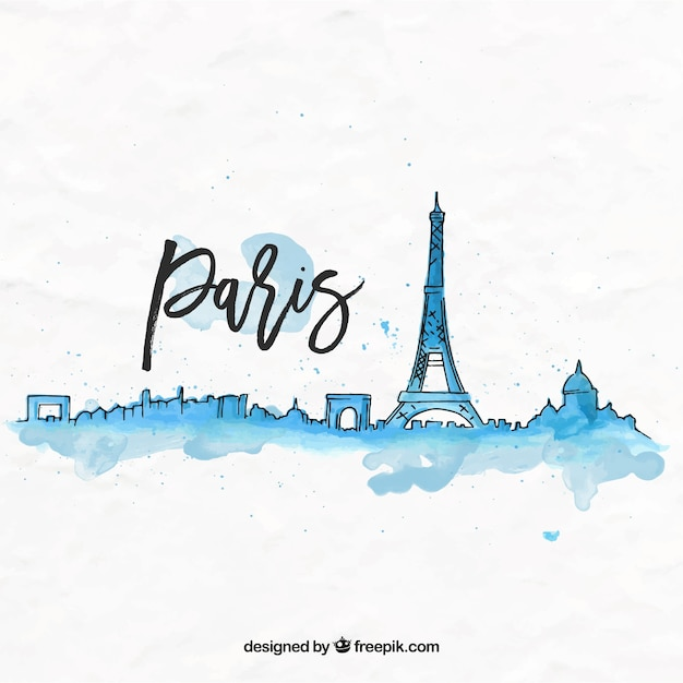 Hand drawn watercolor paris background Free Vector