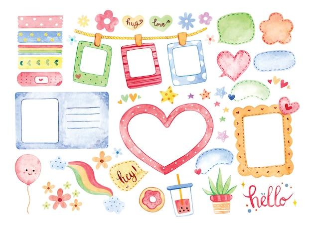 손으로 그린 수채화 사진 프레임 및 귀여운 스크랩북 요소 그림 프리미엄 벡터
