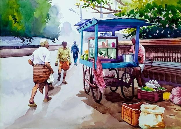 Hand drawn watercolor romantic scene illustration Premium Vector