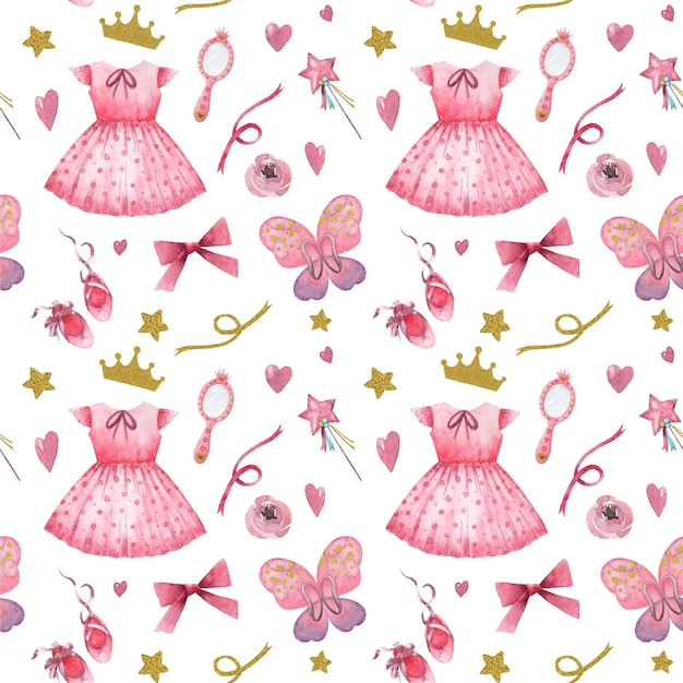 Hand drawn watercolor seamless pattern with pink little princess elements Premium Vector