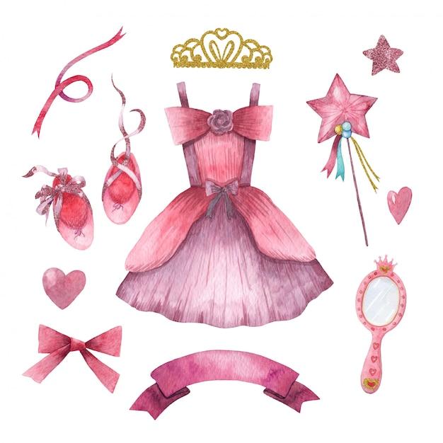 Hand drawn watercolor set of cute little princess accessories Premium Vector