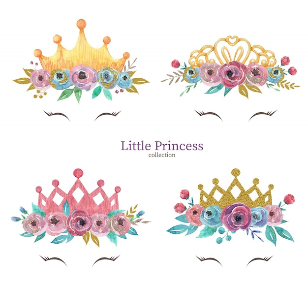 Hand drawn watercolor set of little princess crowns with flowers Premium Vector