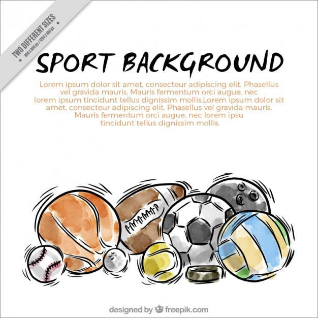 Hand drawn watercolor sport balls\ background