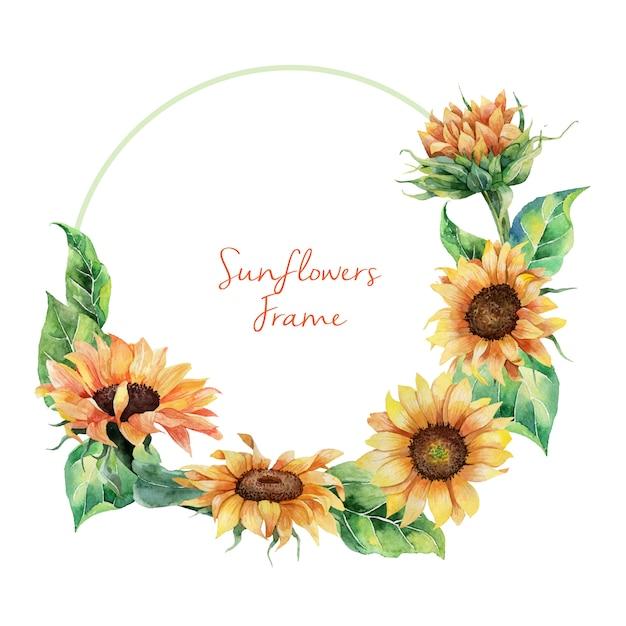 Hand drawn watercolor sunflowers wreath Premium Vector
