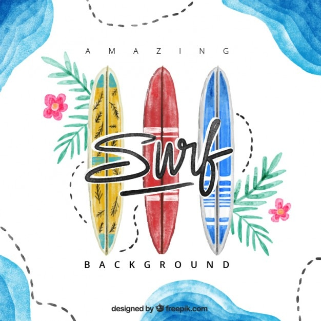 Hand drawn watercolor surfboards\ background