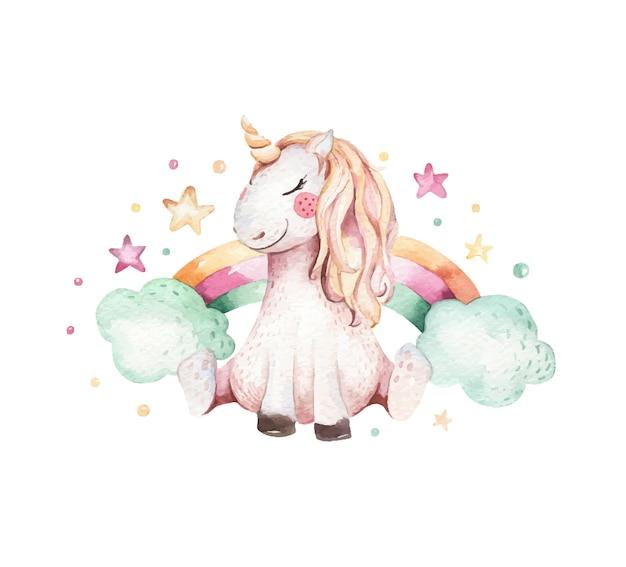 Hand drawn watercolor unicorn illustration. isolated cute watercolor unicorn. unicorn illustration. princess unicorn. Premium Vector