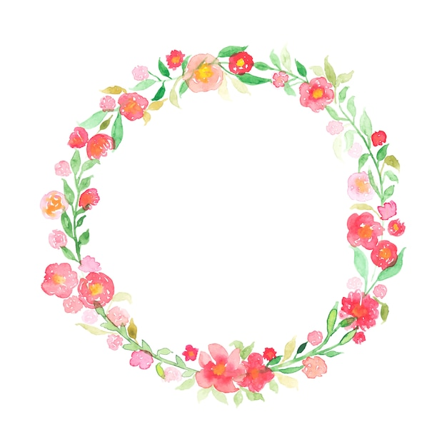 Hand drawn watercolor wreath with abstract flowers and leaves isolated on a white Free Vector