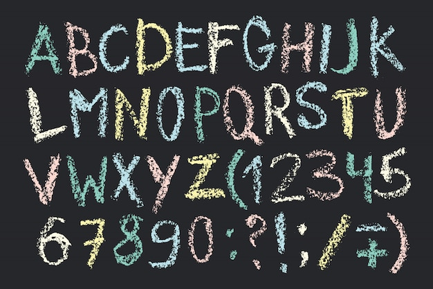 Hand drawn wax crayon font. handwritten alphabet in chalk board style. Premium Vector
