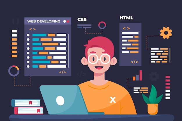 Hand drawn web developers Free Vector