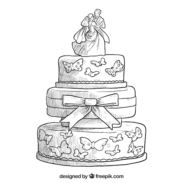 Hand drawn wedding cake Vector Premium Download