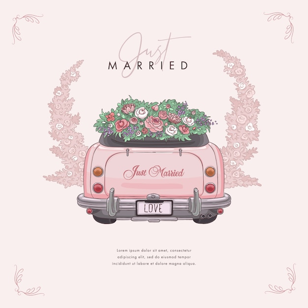 Hand drawn wedding car, just married Premium Vector