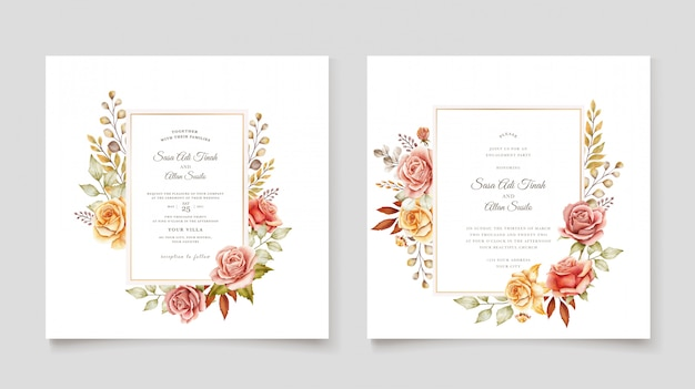 Hand drawn wedding card template Free Vector