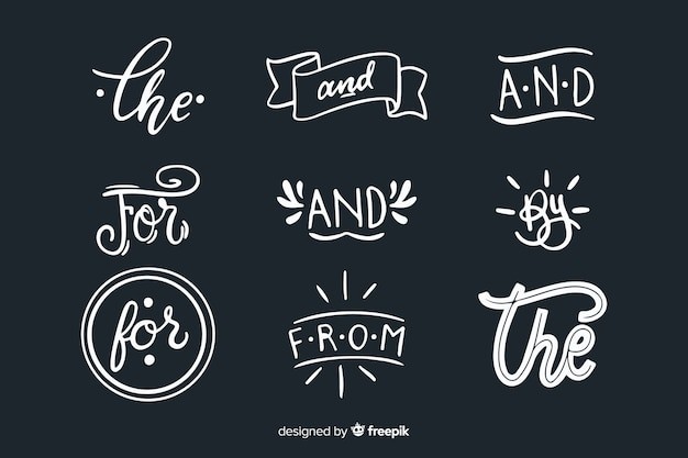 Hand drawn wedding catchword collection Free Vector