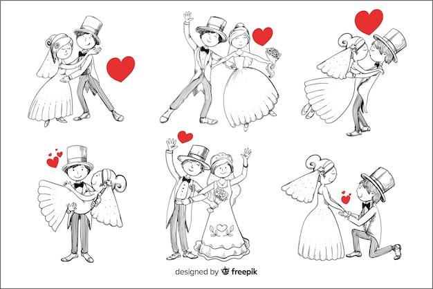 Нарисованная рукой коллекция свадебной пары Premium векторы