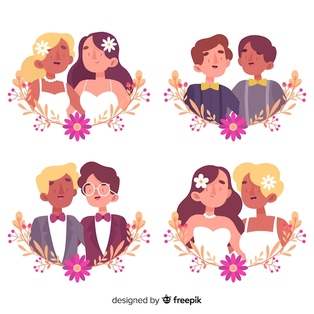 Hand drawn wedding couple collection Free Vector