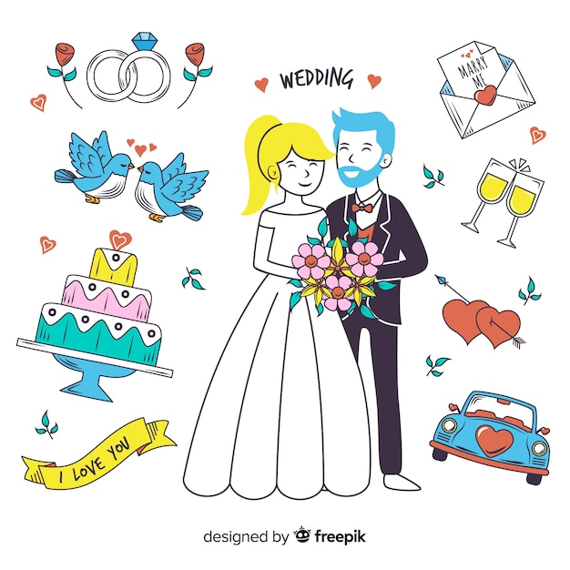 Hand drawn wedding couple and elements Free Vector
