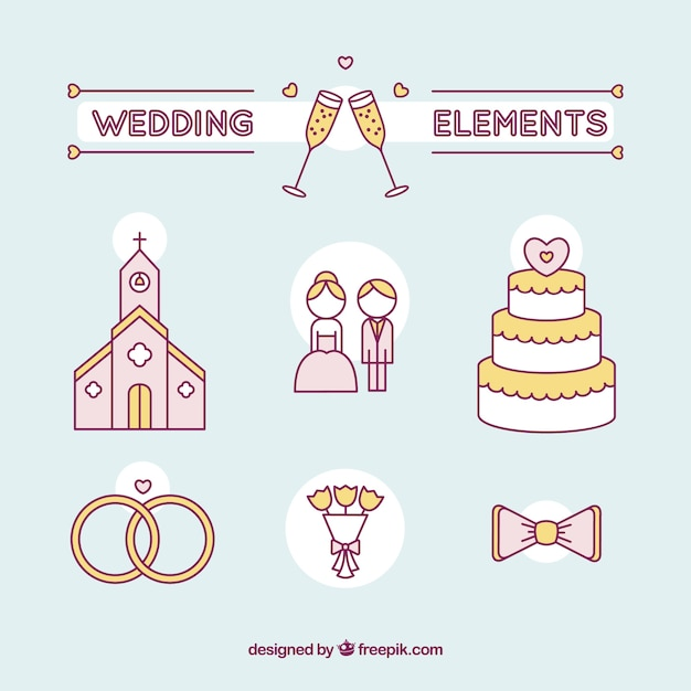 Hand drawn wedding couple and essential elements Free Vector