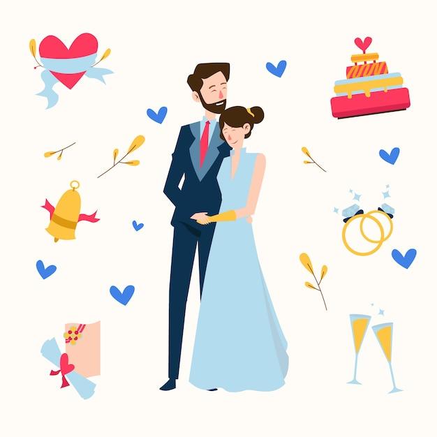 Ручной обращается свадьба пара, держась за руки Бесплатные векторы