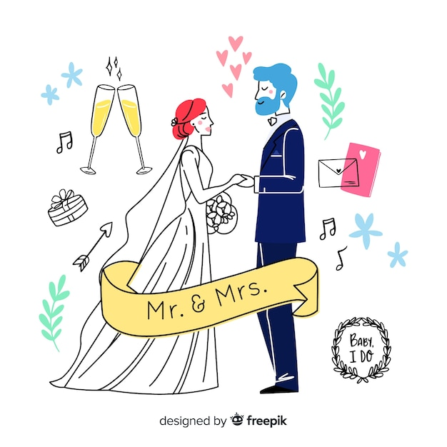 Hand drawn wedding couple with elements Free Vector