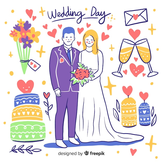Hand drawn wedding couple with ornaments Free Vector