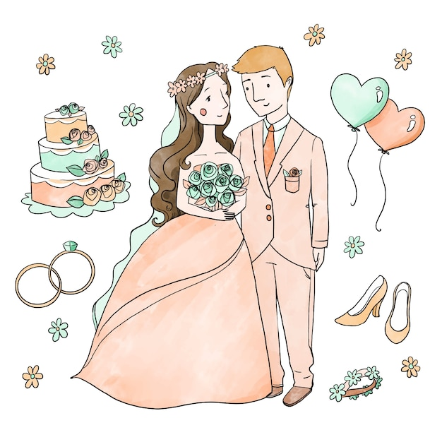Hand drawn wedding couples with cake and balloons Free Vector