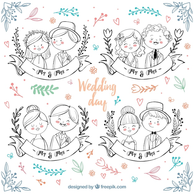 Hand-drawn wedding couples with color details Premium Vector