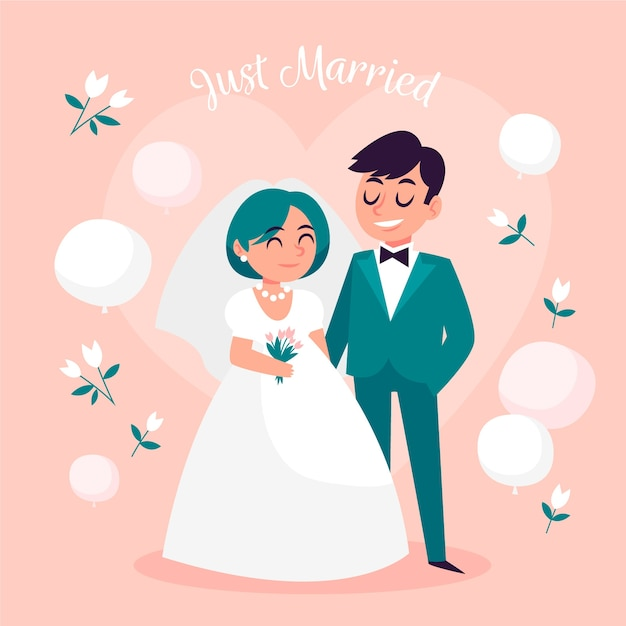 Hand drawn wedding couples Free Vector