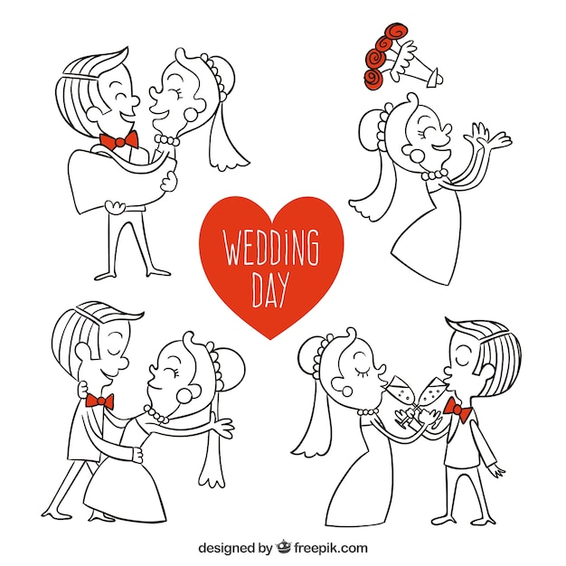 hand drawn wedding day illustrations vector free download