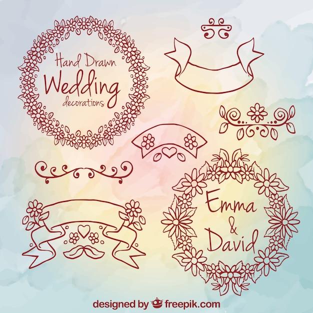 Hand drawn wedding decoration elements vector premium download hand drawn wedding decoration elements premium vector junglespirit Gallery