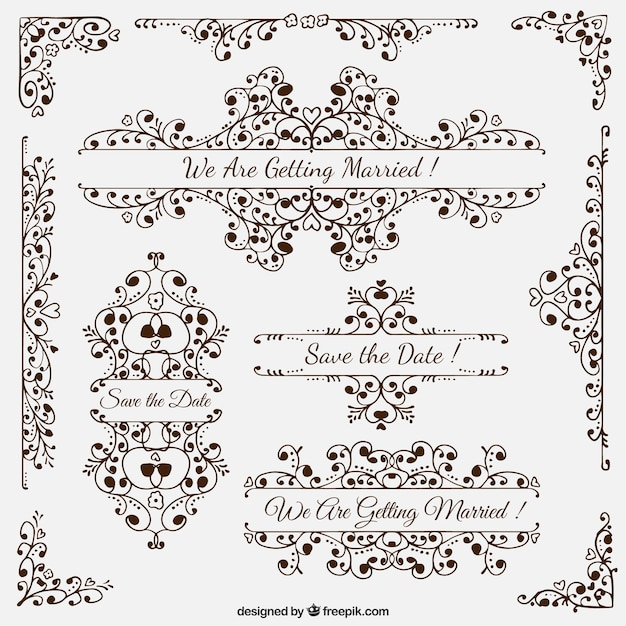 Wedding decor vector wedding dress decore ideas hand drawn wedding decoration elements free vector junglespirit Gallery