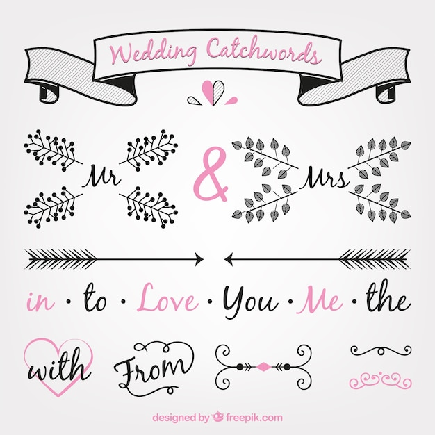Hand drawn wedding decoration pack vector free download hand drawn wedding decoration pack free vector junglespirit Image collections