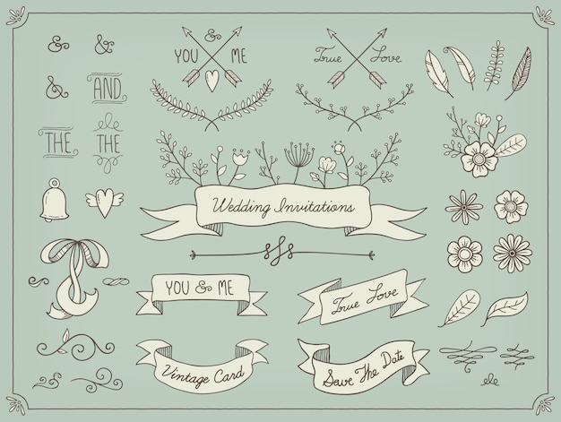 Hand drawn wedding elements Free Vector