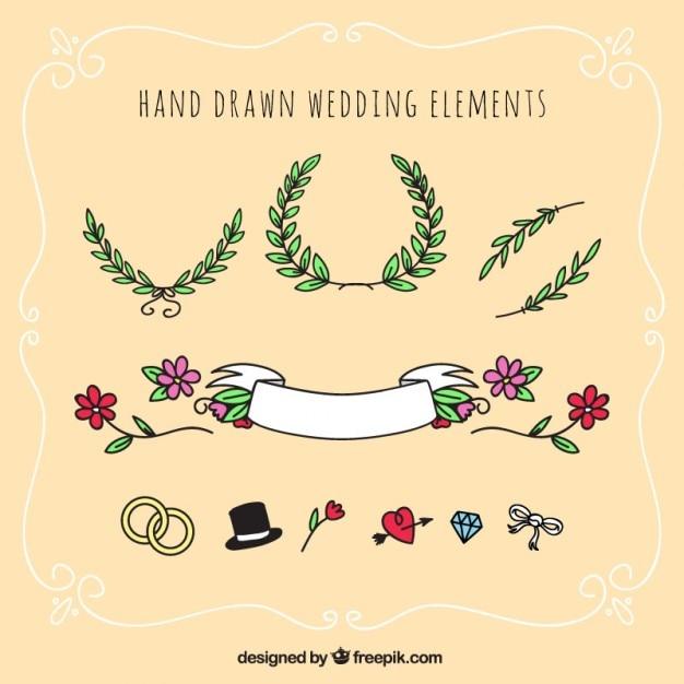 Hand drawn wedding elements Free Vector