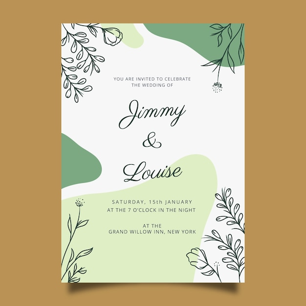 Hand drawn wedding invitation template in floral style Free Vector